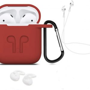 3 in 1 set! Airpods hoesje siliconen case cover beschermhoes + strap + earhoox voor Apple Airpods - rood