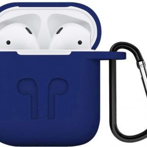 Airpods hoesje siliconen case - 3 in 1 set + strap + earhoox voor Apple Airpods - Donker blauw