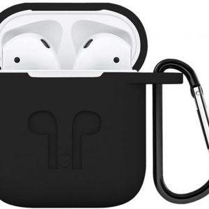 Airpods hoesje siliconen case - 3 in 1 set + strap + earhoox voor Apple Airpods - Zwart