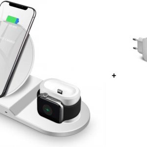 DrPhone 3 in 1 - Qi Dock - Draadloos Lader - Wireless + Thuislader - Geschikt voor o.a. Apple Watch 4 / 3 / 2, Apple Airpods, iPhone 11 / 11 Pro / Max XS / XR / 8 Plus, Samsung Note 10 / S10 + Wit