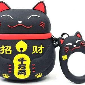 Cartoon Silicone Case voor Apple Airpods - Chinese lucky cat - zwart
