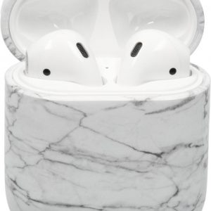 Bescherm hoesje hard case cover Wit Marmer Marble voor Apple AirPods 1 en 2