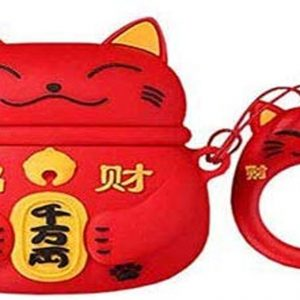 Cartoon Silicone Case voor Apple Airpods Pro - lucky cat - rood