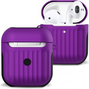 Hoes Voor Apple AirPods 1 Hoesje Case Hard Cover Ribbels - Paars