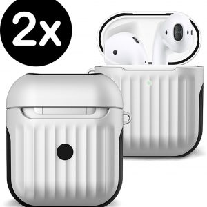 Hoes Voor Apple AirPods 2 Case Hoesje Hard Cover Ribbels - Wit - 2 PACK