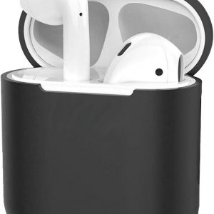 Hoes voor Apple AirPods Hoesje Case Siliconen Cover Ultra Dun - Zwart