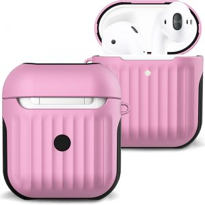 Hoesje Voor Apple AirPods 1 Case Hoes Hard Cover Ribbels - Licht Roze