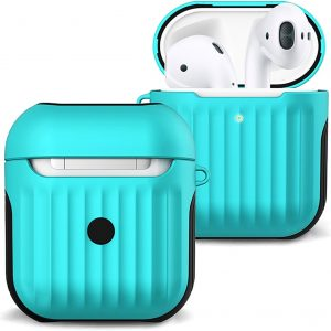 Hoesje Voor Apple AirPods 1 Case Hoes Hard Cover Ribbels - Mint Groen