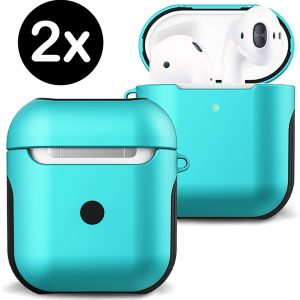Hoesje Voor Apple AirPods Case Hoes Hard Cover - Mint Groen - 2 PACK
