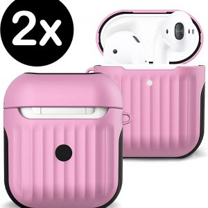 Hoesje Voor Apple AirPods Case Hoes Hard Cover Ribbels - Licht Roze - 2 PACK