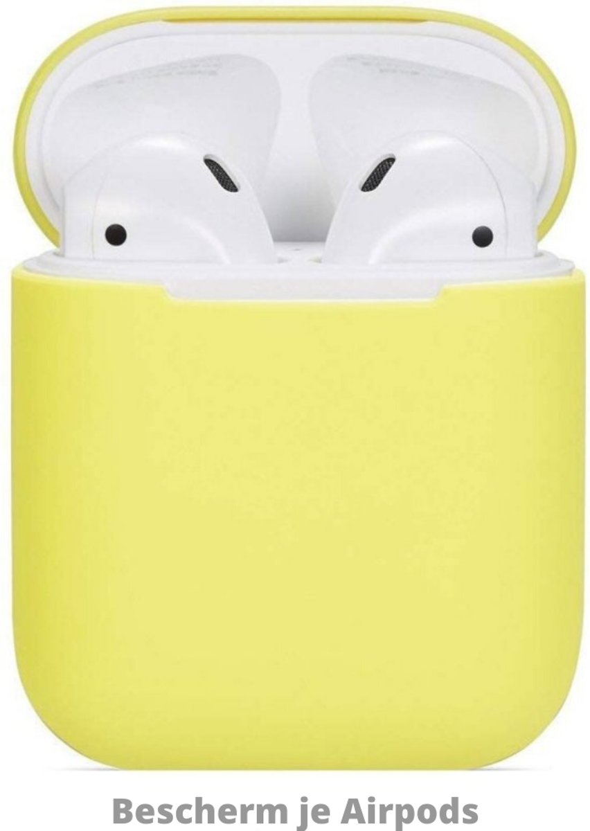 Silicone Hoesje Apple Airpods 1/2 Oplaadcase Cover draadloos Airpods l Airpods Hoesje Siliconen Case - Geel
