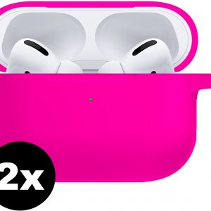 Siliconen Case Cover Voor Apple AirPods Pro Hoesje - Donker Roze - 2 PACK
