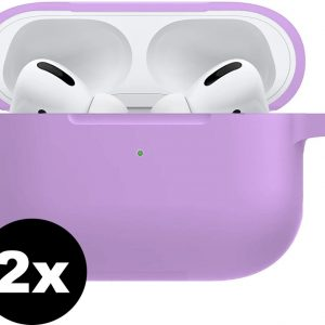 Siliconen Hoes Cover Voor Apple AirPods Pro Hoesje Case - Lila - 2 PACK