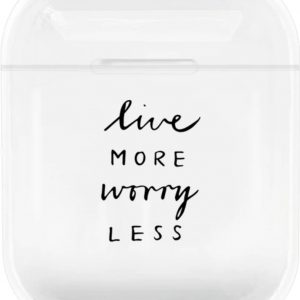 Studio Air® - Airpods Hoesje - Live More Worry Less - Transparant - Geschikt voor Apple AirPods 1 en 2