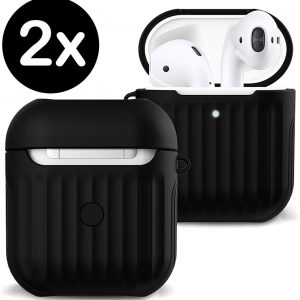 Hoes Voor Apple AirPods 2 Case Hoesje Hard Cover Ribbels - Zwart - 2 PACK