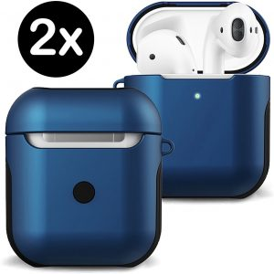 Hoesje Voor Apple AirPods Case Hard Cover - Donker Blauw - 2 PACK