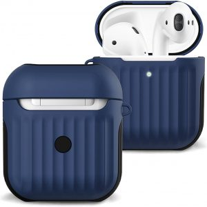 Hoesje Voor Apple AirPods Case Hard Cover Ribbels - Donker Blauw