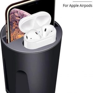 DrPhone 3 in 1 SCION-X PRO Cup Qi draadloze snellader + Airpods directe oplader + dubbele USB-uitgang - Zwart