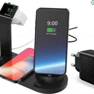DrPhone UltimatePro 5 in 1 Oplaadstation - Qi Draadloos - Docking Type-c/Micro usb/Lightning /AirPods - Apple Watch/Smartphone Standhouder - Zwart