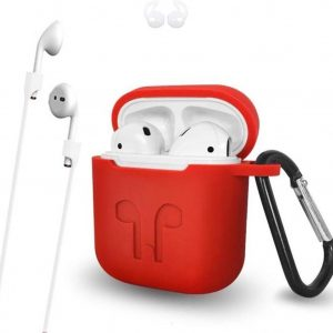 3 in 1 set! Airpods hoesje siliconen case cover beschermhoes + strap voor Apple Airpods - rood