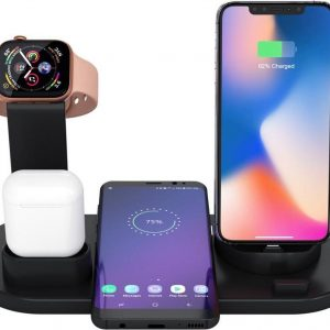 4 in 1 oplaadstation zwart - Apple - Apple watch - Apple Airpods - Android - Universeel oplaadstation - Snellader - Fast charging - Draadloos laden - Wireless charging