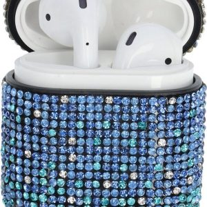 """AirPods Case """"Bling Bling"""" BLAUW - Airpods hoesje - Airpods case - Beschermhoes voor AirPods 1/2"""