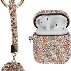 """AirPods Case """"Bling Bling"""" GOUD - Airpods hoesje met hanger - Airpods case - Beschermhoes voor AirPods 1/2"""