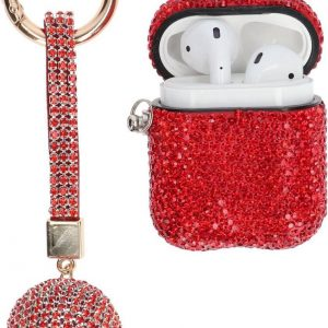 """AirPods Case """"Bling Bling"""" ROOD - Airpods hoesje met hanger - Airpods case - Beschermhoes voor AirPods 1/2"""