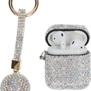 """AirPods Case """"Bling Bling"""" Zilver - Airpods hoesje met hanger - Airpods case - Beschermhoes voor AirPods 1/2"""