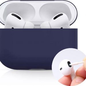 AirPods case voor iPhone - AirPods Pro hoesje blauw - AirPods Pro siliconen - AirPods Pro bescherming blauw - 4 AirPods Pro clean staafjes