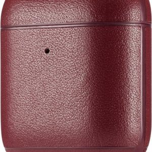 AirPods hoesje van By Qubix - AirPods 1/2 hoesje Genuine Leather Series - hard case - Wijn rood