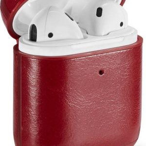 AirPods hoesje van By Qubix - AirPods 1/2 hoesje Genuine Leather Series - hard case - rood