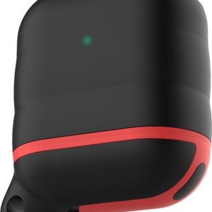 AirPods hoesje van By Qubix - AirPods 1/2 hoesje siliconen waterproof series - soft case - zwart + rood