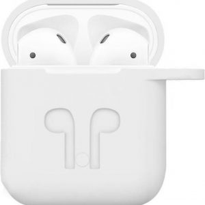 Airpods iCoon Silicone Case Cover Hoesje geschikt voor Apple Airpods 1 / 2 - Wit