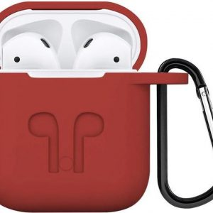 Airpods iCoon Silicone Case Cover Hoesje geschikt voor Apple Airpods - Rood