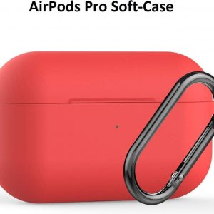 Apple AirPods Pro Soft Silicone Hoesje Met sleutelhanger - Rood