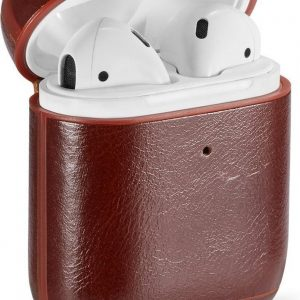 By Qubix - AirPods 1/2 hoesje Genuine Leather Series - hard case - donker bruin - AirPods hoesjes