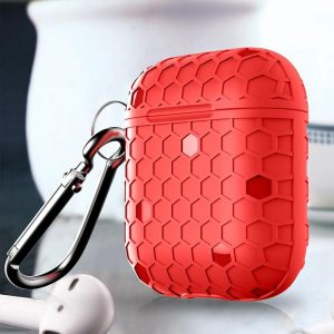 By Qubix - AirPods 1/2 hoesje Hexagon TPU soft serie - rood - AirPods hoesjes