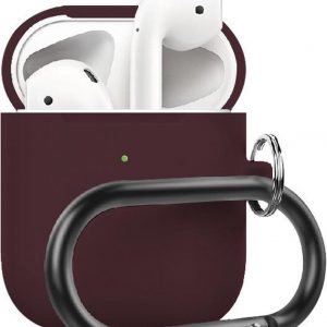 By Qubix - AirPods 1/2 hoesje siliconen chargebox Series - soft case - bordeaux - UV bescherming - AirPods hoesjes