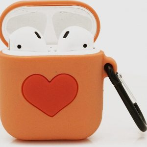 Cartoon Silicone Case voor Apple Airpods - Orange Love - met karabijn