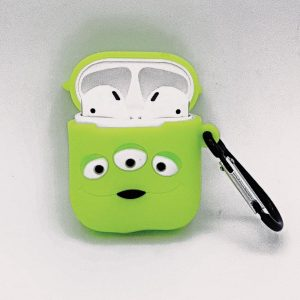 Cartoon Silicone Case voor Apple Airpods - green three-eyes - met karabijn