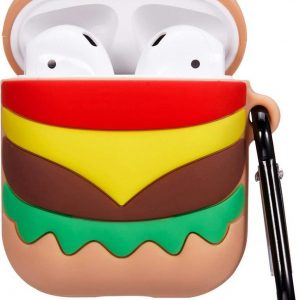 Cartoon Silicone Case voor Apple Airpods - hamburger - met hanger