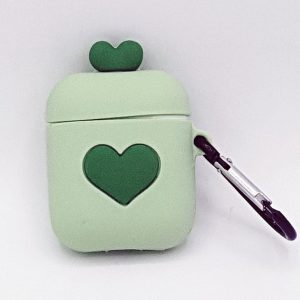 Cartoon Silicone Case voor Apple Airpods - love hart - groen - met karabijn - met karabijn