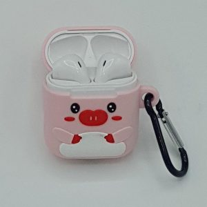 Cartoon Silicone Case voor Apple Airpods - pretty piggy - met karabijn