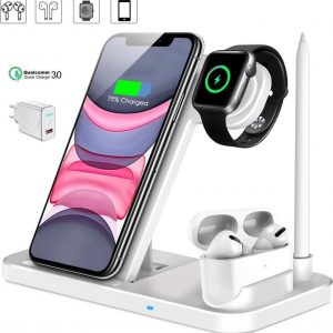 DrPhone DFC - 4 in 1 Draadloze Oplader - Fast Charge Oplaadstation voor Watch Series 4/5/6 /SE AirPods Pro / 2 & Pencil - Wit