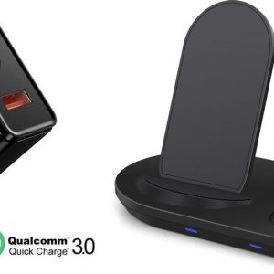 DrPhone DFC2 - 4 IN 1 Wireless Charger Stand - iPhone - Pencil - Airpods - Apple Watch - QI + 18W Thuislader Adapter - Zwart
