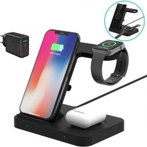 DrPhone LEGEND3 - Qi Draadloze oplader - 5-in-1 Oplaadstation / Dock voor o.a Apple Watch, iPhone 12 / 11 / AirPods Pro / 2 - S20 / Note 20 Galaxy Buds & Galaxy Watch