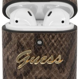 GUESS Python Snake Skin Apple AirPods Case Hoesje - Bruin