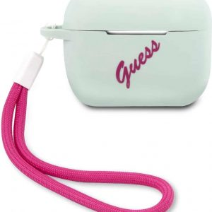 GUESS Vintage Siliconen AirPods Pro Case - Mint Groen