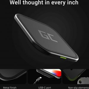 Green Cell AirJuice draadloze oplader 15W Fast Charging iPhone SE 11 XS X Samsung Galaxy Buds S20 Ultra S20+ S10+ Note 10+ AirPods